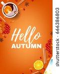 hello autumn beautiful poster.... | Shutterstock .eps vector #666386803