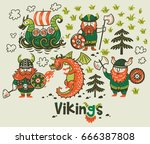 set with three vikings  dragon... | Shutterstock .eps vector #666387808