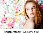 beautiful romantic young woman... | Shutterstock . vector #666391540