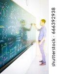 businessman tries to solve math ...   Shutterstock . vector #666392938