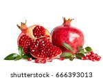 Whole Pomegranate And Two Parts ...