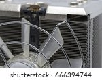 close up cpu cooling fan with... | Shutterstock . vector #666394744