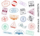 set of visa passport stamps.... | Shutterstock .eps vector #666395074