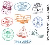 set of visa passport stamps.... | Shutterstock .eps vector #666395086
