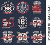 vintage labels set  athletic...   Shutterstock .eps vector #666395164