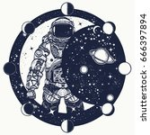 astronaut in space tattoo.... | Shutterstock .eps vector #666397894