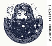 woman in space tattoo art.... | Shutterstock .eps vector #666397948