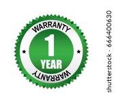 green 1 year warranty badge ... | Shutterstock .eps vector #666400630