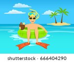 funny guy with coconut cocktail ... | Shutterstock .eps vector #666404290