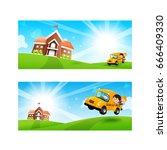 back to school concept blank... | Shutterstock .eps vector #666409330