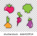 stickers with images of... | Shutterstock .eps vector #666410914