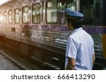 asian railway police looking... | Shutterstock . vector #666413290
