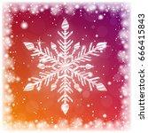 shiny sparkling snowflake on... | Shutterstock .eps vector #666415843