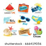summer label  banner  tag and... | Shutterstock .eps vector #666419056