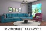 bedroom interior. 3d... | Shutterstock . vector #666419944