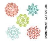 Set Of 5 Flower Mandala In Han...