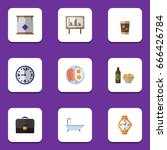 flat icon oneday set of fried... | Shutterstock .eps vector #666426784
