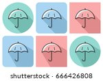 outlined icon of umbrella with... | Shutterstock .eps vector #666426808
