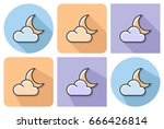 outlined icon of  crescent with ... | Shutterstock .eps vector #666426814