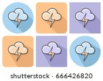 outlined icon of cloud with... | Shutterstock .eps vector #666426820