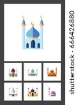 flat icon mosque set of... | Shutterstock .eps vector #666426880