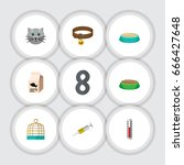 flat icon pets set of vaccine ... | Shutterstock .eps vector #666427648