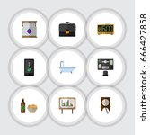 flat icon lifestyle set of... | Shutterstock .eps vector #666427858