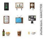 flat icon oneday set of bureau  ... | Shutterstock .eps vector #666427930
