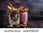 vanilla and raspberry extreme... | Shutterstock . vector #666428050