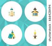 flat icon christian set of... | Shutterstock .eps vector #666428494