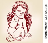 angel or cupid  little baby ... | Shutterstock .eps vector #666428818