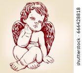 angel or cupid  little baby ...   Shutterstock .eps vector #666428818