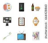 flat icon oneday set of bureau  ... | Shutterstock .eps vector #666428860