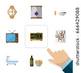 flat icon oneday set of tub ... | Shutterstock .eps vector #666429088