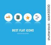 flat icon nature set of alga ... | Shutterstock .eps vector #666430030