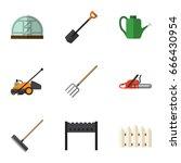 flat icon farm set of hacksaw ... | Shutterstock .eps vector #666430954