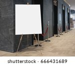 mock up blank poster on stand... | Shutterstock . vector #666431689