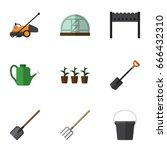flat icon garden set of... | Shutterstock .eps vector #666432310