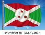 waving flag of burundi on a sky ... | Shutterstock .eps vector #666432514