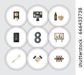 flat icon oneday set of... | Shutterstock .eps vector #666433738