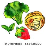 set of isolated vector and... | Shutterstock .eps vector #666435370