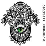 decorative hamsa   Shutterstock .eps vector #666437050
