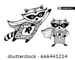 raccoons isolated. superhero... | Shutterstock .eps vector #666441214