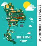 thailand map with colorful... | Shutterstock .eps vector #666442138