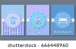 baby shower cards. set cute...   Shutterstock .eps vector #666448960