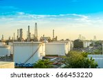 gas storage tanks and oil tank... | Shutterstock . vector #666453220