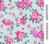 vector seamless delicate... | Shutterstock .eps vector #666453490