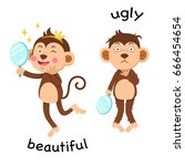 opposite beautiful and ugly... | Shutterstock .eps vector #666454654