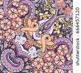 vector abstract nature hand... | Shutterstock .eps vector #666457120