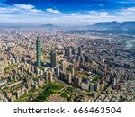 aerial panorama over downtown... | Shutterstock . vector #666463504